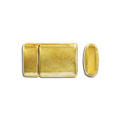 Flat magnetic clasp, 21x13mm, inside diameter 10x2mm, gold plate