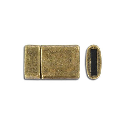 Flat magnetic clasp, 21x13mm, inside diameter 10x2mm, antique brass