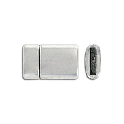 Flat magnetic clasp, 21x13mm, inside diameter 10x2mm, antique silver