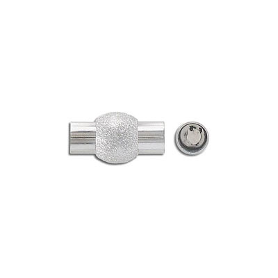 Magnetic clasp, 20x11mm, inside diameter 6mm, frosted stainless steel