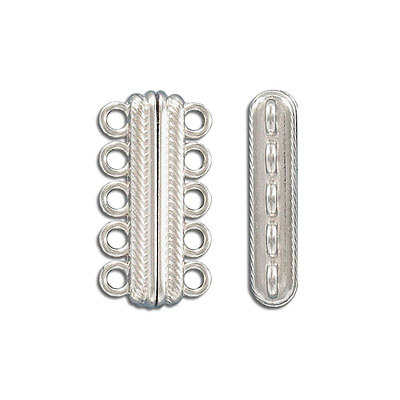 Magnetic clasp, 5-rows, 33x17mm, zamak (zinc alloy), antique silver