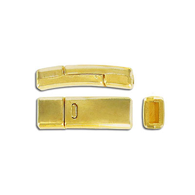 Flat magnetic clasp, 27x9mm, inside diameter 5x2mm, gold plate