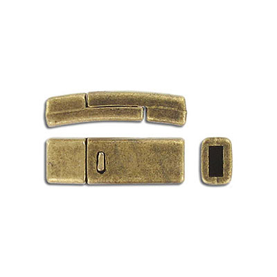 Flat magnetic clasp, 27x9mm, inside diameter 5x2mm, antique brass