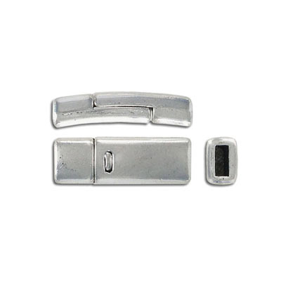 Flat magnetic clasp, 27x9mm, inside diameter 5x2mm, antique silver
