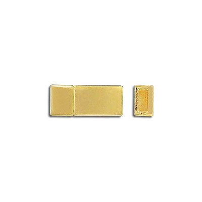 Flat magnetic clasp, 16.3x8.3mm, inside diameter 5x2mm, gold plate