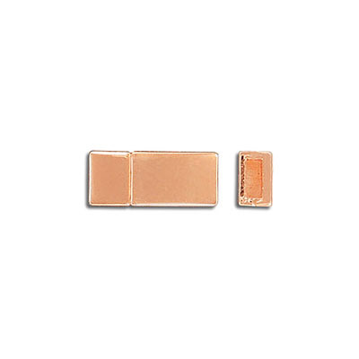Magnetic clasp, flat, 16.8x7.3mm, inside diameter 5x2mm, rose gold plate