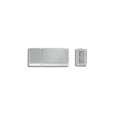 Flat magnetic clasp, 16.3x8.3mm, inside diameter 5x2mm, antique silver