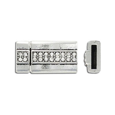 Magnetic clasp with rhinestones, 27x14mm, inside diameter 10x2mm, antique silver