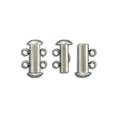 Clasp, 15.5x10mm, 2-rows slide lock, stainless steel, 304L