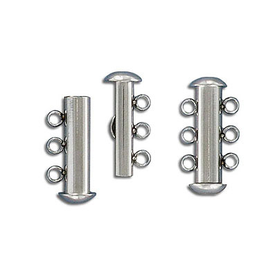 Clasp slide lock, 20x10mm, 3-row, stainless steel, 304l