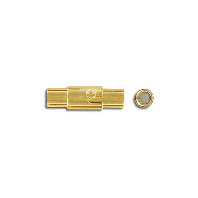 Magnetic clasp, 16x4mm, inside diameter 3mm, stainless steel, vacuum gold plate