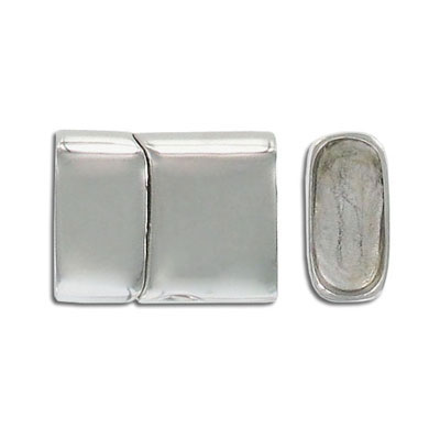 Magnetic clasp, 24x18.5mm, 16x7mm inside diameter, stainless steel