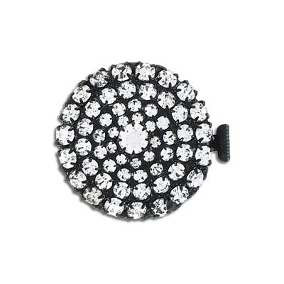 Clasp, 2-row, 28mm, round, crystal, black finish