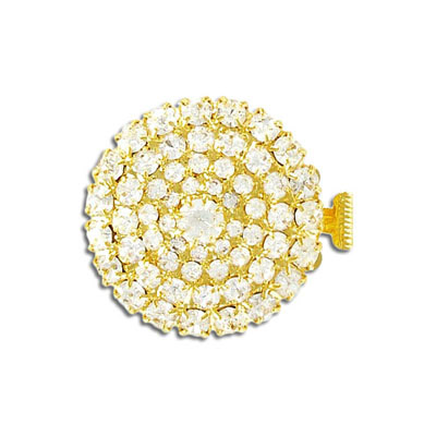 Clasp, 2-row, 28mm, round, crystal, gold plate