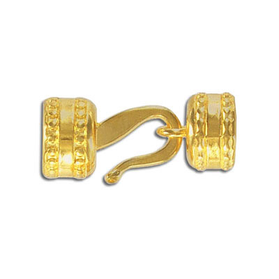 Round hook clasp, 13x8mm, inside diameter 10mm, zinc alloy, gold plate, nickel free. Made in Europe