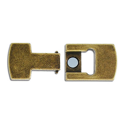 Flat magnetic clasp, 40x18mm, inside diameter 15x4mm, antique brass