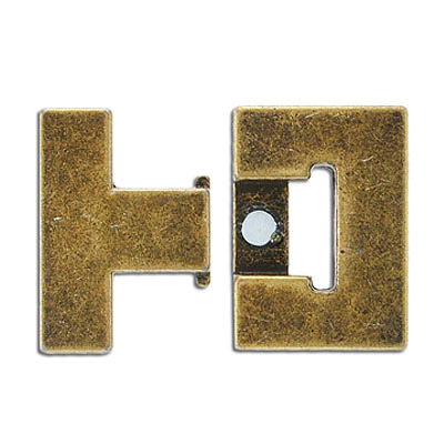 Flat magnetic clasp, 36x33mm, inside diameter 30x3mm, antique brass