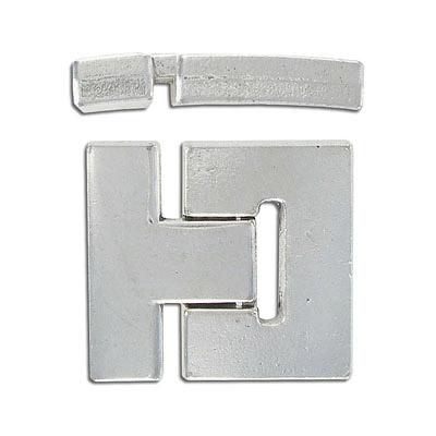 Flat magnetic clasp, 36x33mm, inside diameter 30x3mm, antique silver