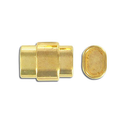 Magnetic clasp for Regaliz leather TT10X7MM and TT10X6MM, 20x15mm, inside diameter 10x7mm, gold plate