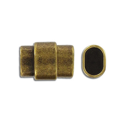 Magnetic clasp for Regaliz leather TT10X7MM and TT10X6MM, 20x15mm, inside diameter 10x7mm, antique brass
