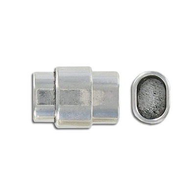 Magnetic clasp for Regaliz leather TT10X7MM and TT10X6MM, 20x15mm, inside diameter 10x7mm, antique silver