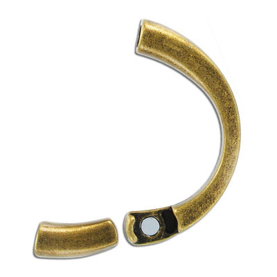 Half bracelet magnetic clasp, inside diameter 10x7mm, antique brass