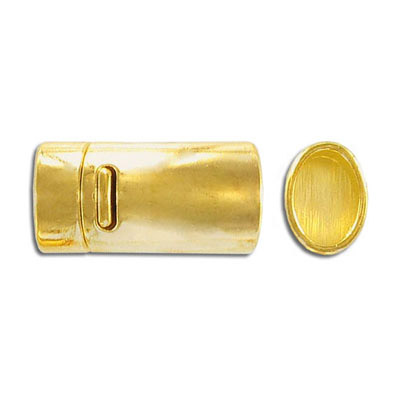 Magnetic clasp, 25x11mm, inside diameter 10x7mm, gold plate
