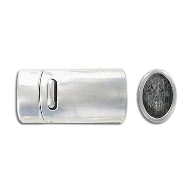Magnetic clasp, 25x11mm, inside diameter 10x7mm, antique silver
