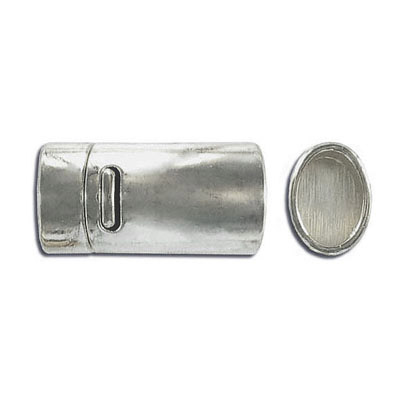 Magnetic clasp, 25x11mm, inside diameter 10x7mm, stainless steel