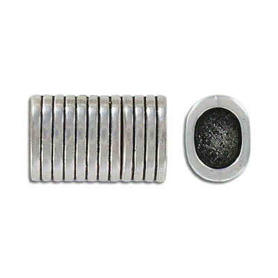Magnetic clasp for Regaliz leather TT10X7MM and TT10X6MM, 23x14mm, striped, inside diameter 10x7mm, antique silver