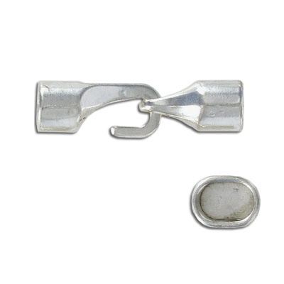 Hook clasp for Regaliz leather TT10X7MM and TT10X6MM, 39x13mm, inside diameter 10x7mm, antique silver