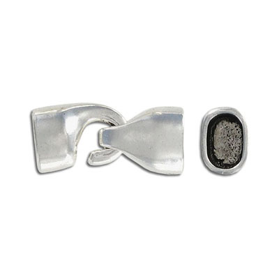 Hook clasp for Regaliz leather TT10X7MM and TT10X6MM, 28x13mm, inside diameter 10x7mm, antique silver