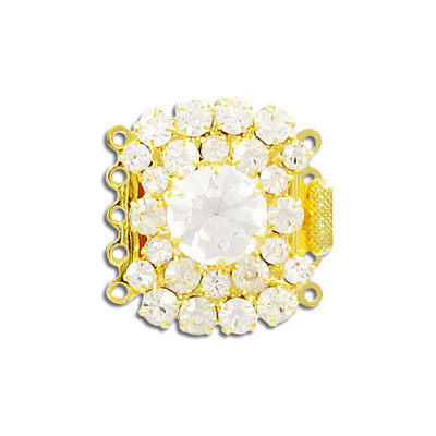 Clasp, 5 rows, 28x25mm, crystal, gold plate