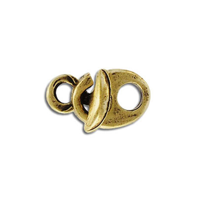 Hook and eye clasp, 17x13mm, antique brass, lead free