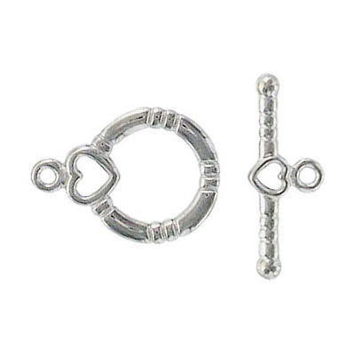Toggle clasp fancy (circle 18x13mm) nickel plate nkf
