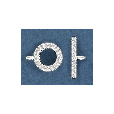 Toggle clasp, 10mm, silver plate