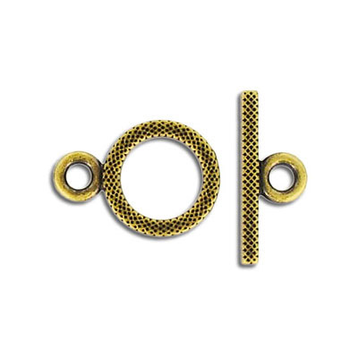 Toggle clasp, 14mm, antique brass
