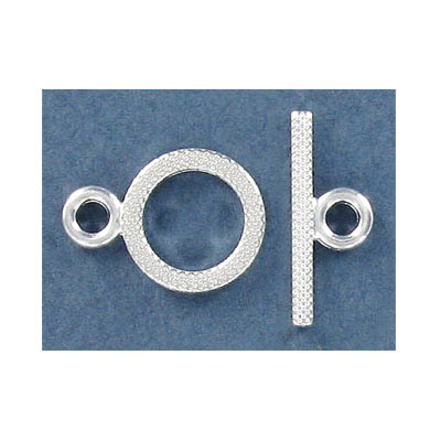 Toggle clasp, 14mm, silver plate