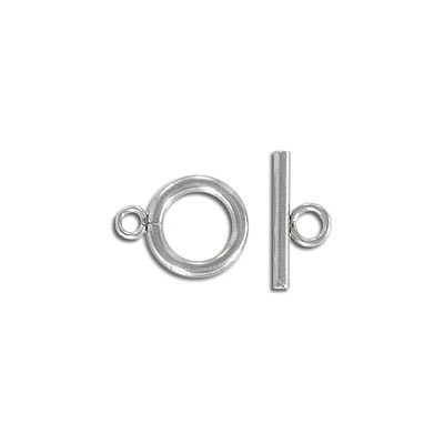 Toggle clasp, 12mm, round, stainless steel, grade 304l