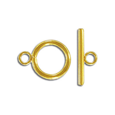 Toggle clasp, 14mm, stainless steel, gold plate