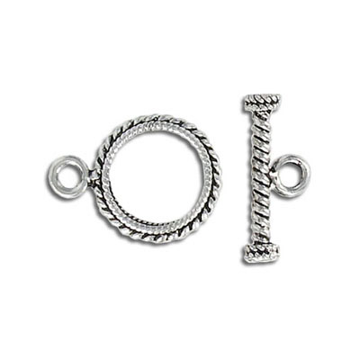 Toggle clasp, 15mm, antique silver