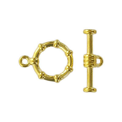 Toggle clasp fancy (circle 15x12mm) gold plate nkf