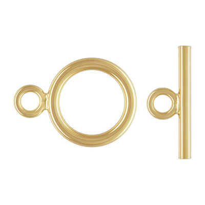 Toggle clasp, 9mm, round, 1.3mm wire thickness, gold filled, gold plate
