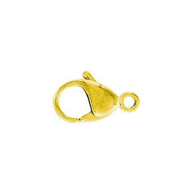 Lobster clasp, 15mm, stainless steel, gold plate
