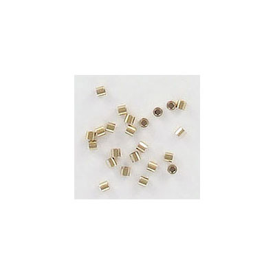 Crimp bead, 1x1mm, gold filled, brass base, approx. hole size 0.60mm