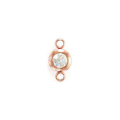 Connector, 6mm, round, with crystal, stainless steel, rose gold plate
