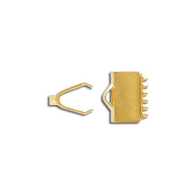 Connector with teeth, 10x5mm, crimp, stainless steel,  gold vacuum plating