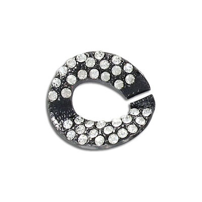 Connector, chain link, 25mm, with crystals, black nickel finish