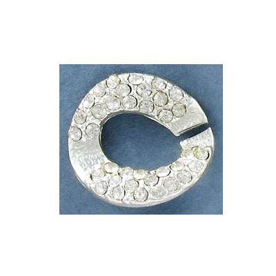 Connector, chain link, 25mm, with crystals, silver plate