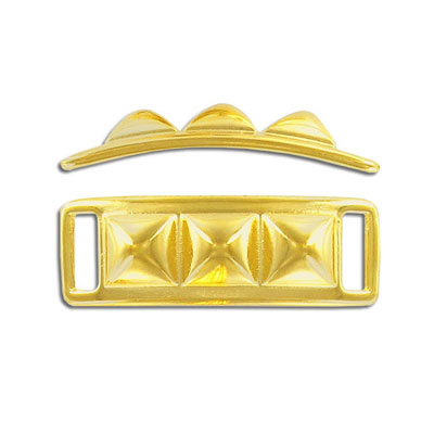 Connector, 40x14mm, stud, gold plate